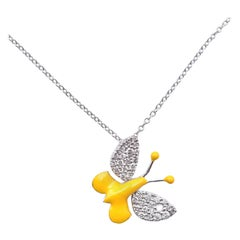 18 Karat White Gold Diamond and Yellow Enamel Butterfly Necklace