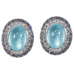 18 Karat White Gold Diamond Aquamarine and Tanzanite Stud Earrings