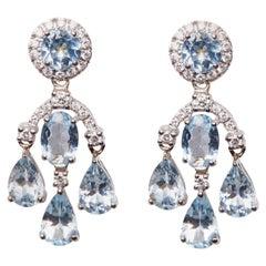 18 Karat White Gold Diamond, Aquamarine Dangle Earrings