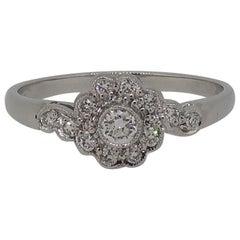 18 Karat White Gold Diamond Art Deco Style Cluster Ring
