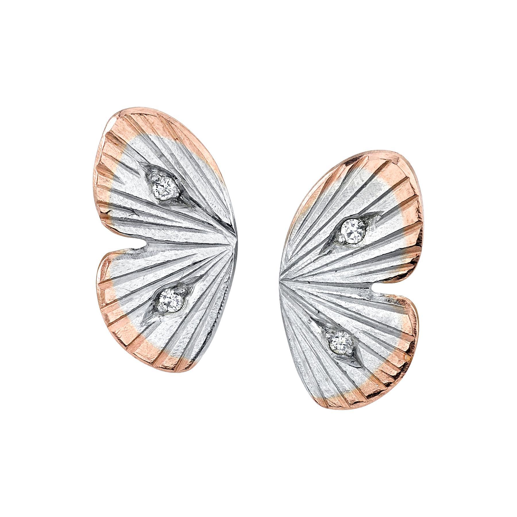 18 Karat White Gold Diamond Baby Asterope Butterfly Wing Earrings