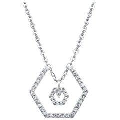 18 Karat White Gold Diamond Baby Halo Necklace