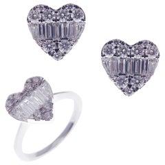 18 Karat White Gold Diamond Baguette Large Heart Earring Ring Set