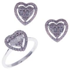 18 Karat White Gold Diamond Baguette Medium Halo Heart Earring Ring Set