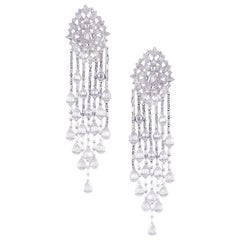 18 Karat White Gold Diamond Baguette Pear Burst Chandelier Dangling Earring