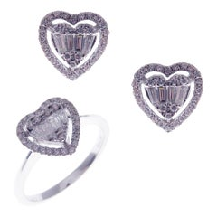 18 Karat White Gold Diamond Baguette Small Halo Heart Earring Ring Set