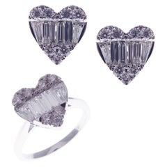 18 Karat White Gold Diamond Baguette X-Large Heart Earring Ring Set