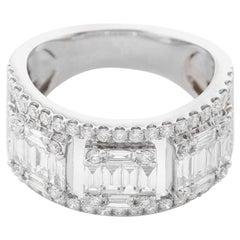 18 Karat White Gold Diamond Band Size 7