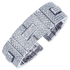 18 Karat White Gold Diamond Bangle Bracelet, 16.75 Carat