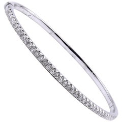 18 Karat White Gold Diamond Bangle Bracelet