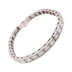 18 Karat White Gold Diamond Block Bracelet