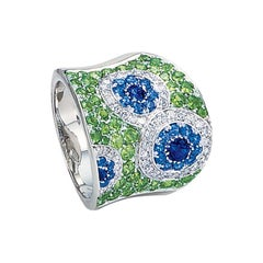18 Karat White Gold, Diamond, Blue Sapphire, and Tsavorite Ring
