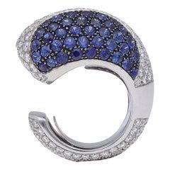 18 Karat White Gold Diamond Blue Sapphires Cocktail Ring