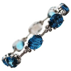 18 Karat White Gold Diamond Blue Topaz Statement Bracelet
