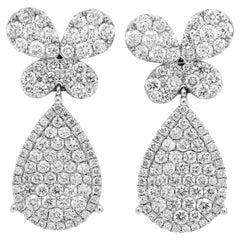 18 Karat White Gold Diamond Butterfly and Pear Shape Design Drop Earrings
