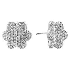 18 Karat White Gold Diamond Butterfly Stud Earring