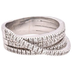 18 Karat White Gold Diamond Bypass Ring