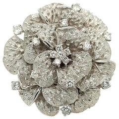 18 Karat White Gold Diamond Camellia Flower Brooch