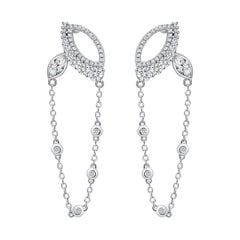 18 Karat White Gold Diamond Chain Leaf Earrings