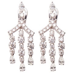 18 Karat White Gold Diamond Chandelier Earrings