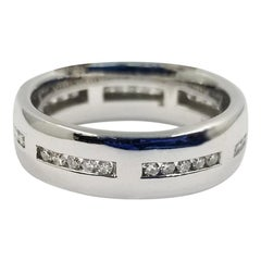 18 Karat White Gold Diamond Channel Band