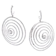 18 Karat White Gold Diamond Circle Swirl Drop Earrings