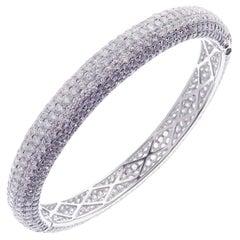 18 Karat White Gold Diamond Classic Pave Band Eternity Bangle Bracelet