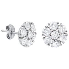 18 Karat White Gold Diamond Cluster Earrings