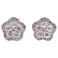 18 Karat White Gold Diamond Cluster Flower Stud Earrings
