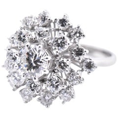 18 Karat White Gold Diamond Cluster Ring