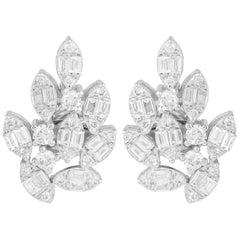 18 Karat White Gold Diamond Cluster Stud Earrings