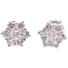 18 Karat White Gold Diamond Cluster Stud Earrings