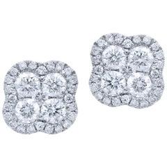 18 Karat White Gold Diamond Cluster Stud Earrings with Halo