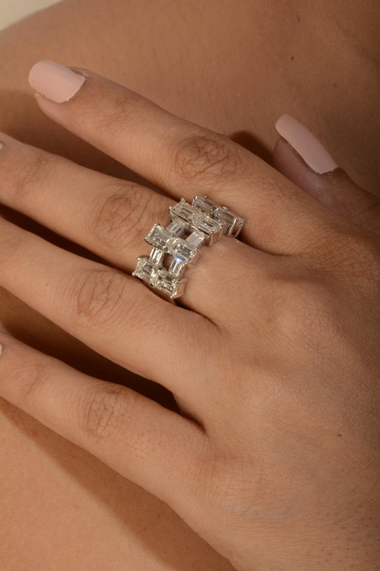 Emerald Cut 18 Karat White Gold Diamond Cocktail Ring For Sale