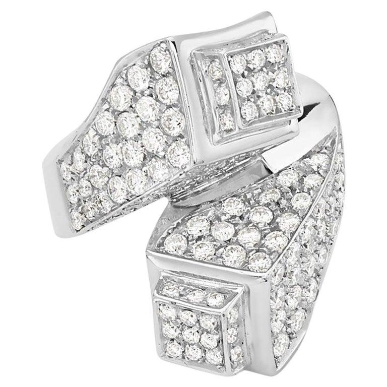 18 Karat White Gold Diamond Cocktail Ring For Sale