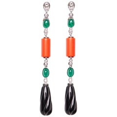 18 Karat White Gold Diamond Coral Emerald and Onyx Dangle Earrings