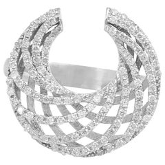 18 Karat White Gold Diamond Crescent Ring