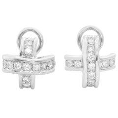 18 Karat White Gold Diamond Cross Earrings