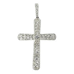 18 Karat White Gold Diamond Cross Pendant