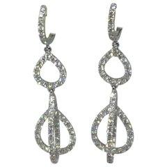 18 Karat White Gold Diamond Dangle Earrings 2.12 Carat