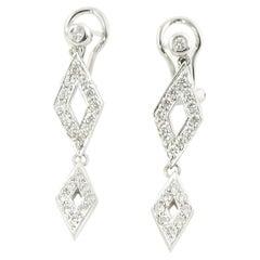 18 Karat White Gold Diamond Dangle Earrings