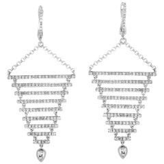 18 Karat White Gold Diamond Dangle Earrings