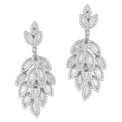 18 Karat White Gold Diamond Dangle Earrings Total 731 Stones Weighing 9.94 Carat