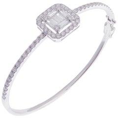 18 Karat White Gold Diamond Delicate Baguette Square Bangle Bracelet