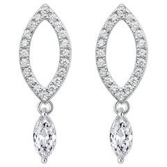 18 Karat White Gold Diamond Dew Drop Stud Earrings
