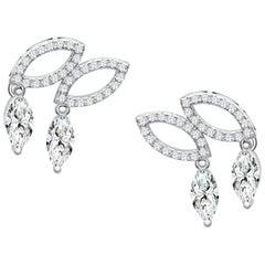 18 Karat White Gold Diamond Double Drop Stud Earrings