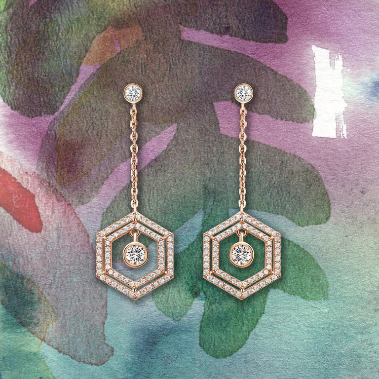 Women's or Men's 18 Karat White Gold Diamond Double Halo Earrings For Sale