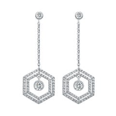 18 Karat White Gold Diamond Double Halo Earrings