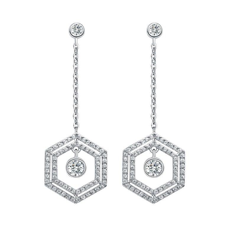 18 Karat White Gold Diamond Double Halo Earrings For Sale