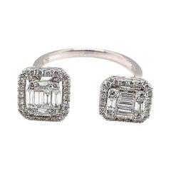 18 Karat White Gold Diamond Double Rectangular Open Ring
